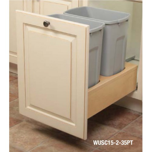 KV Double Waste Bin, Solid Wood Box Soft Closing
